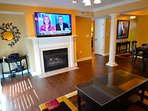Living Area with Gas Fireplace and Smart TV