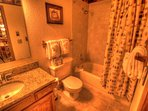 Guest Bathroom - The guest bathroom features granite counters and a shower/tub combination.