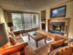SkyRun Property - '2094 The Pines' - Living Room - Over sized living room features new furniture, real wood burning ...