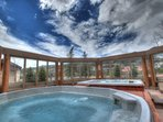 Slopeside Hot Tubs - Enjoy stunning views of the ski slopes from the outdoor hot tubs.