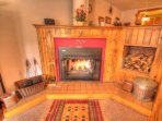 Fireplace - The real wood burning fireplace is great for cooking s'mores on the provided fire utensils.