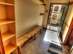 entry way  - brand new ski storage and entry bench. plenty of room for everyone.