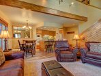 SkyRun Property - 'Chimney Ridge 512' - Living Area looking into the kitchen