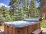 Relax in the outdoor private hot tub
