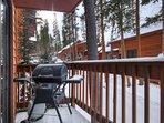 BBQ propane grill on back balcony