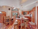 Beautiful wood finishes in kitchen and dining room