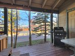 Back deck with hot tub and BBQ