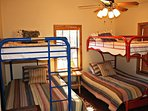 Second Bedroom with Bunk Beds - Full size beds on bottom and twin size beds on top