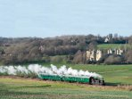 Train as it leaves Bodiam. Spend a day in Tenterden with its shops and restaurants. KESR .