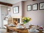 Stylish oak dining table