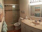 Bathroom with walk in shower and all updated and clean.