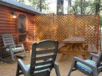 PICNIC table,  DECK PRIVACY fence and LED accent LIGHTING for SOCIALIZING