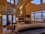 Open living room has mountain views