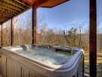 Soak in the hot tub after a day of hiking and enjoy the mountain views