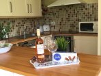 Welcome gift - a chilled bottle of rosé and a French speciality - chocolate gavottes