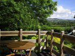 Views of the Steam railway from the balcony of Cefn Farmhouse in North Wales