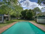 Solar Heated pool with large garden complete with Barbeque