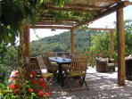 The outdoor dining area, shaded by a vine covered pergola with views of the valley beyond.