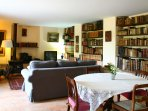 The library provides the perfect space to which  guests can retreat to read and relax