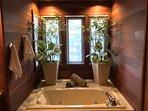 Spa tub in the master bathroom.