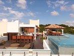 terrace deck with pool, gazebo, bar