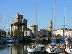 La Rochelle's stunning port, about 25-30 minutes leisurely walk from the house.