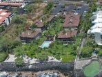 Aerial view of Kona Isle complex where our condominium is located. Note the salt water pool (right)