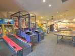 Shoot hoops or go for a high score on skee ball.