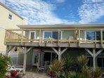 Beach side  Ground level deck