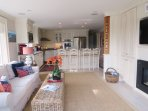 View of the den and kitchen, open and airy coastal living! - 10 Cove Hill North Chatham Cape Cod - New England Vacation...