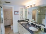 Double vanity sink in Jack-and-Jill bathroom on lower level - 10 Cove Hill North Chatham Cape Cod - New England...