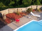 Private fenced pool serviced 2 x per week by best pool man in OBX.