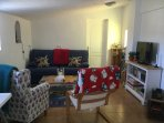 Comfortable lounge area with TV/DVD and CD/radio stereo.  Sofa bed sleeps 2 guests.