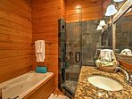 This full bathroom offers comfort and convenience.