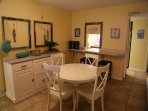 Dining table plus two bar stools