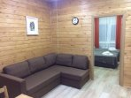 kitchen & lounge: sofa bed