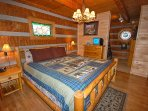 Master Bedroom w/King Sized Log Bed and Cable TV