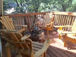 Tree house style Deck with built in fire pit