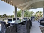 Enjoy a meal outdoors on the main deck