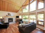 Vaulted cedar ceilings and gas fireplace living room
