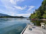 Private dock on lake.