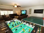 Fabulous Media Room With Ping Pong and Foosball