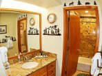 Hallway Bathroom with Granite Counters