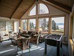 living room with amazing lake views