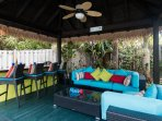 Welcome to CoCo Gardens. Relaxing outdoor living space with outdoor kitchen and Jacuzzi tub.