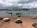 Teignmouth back beach  with Shaldon Ferry leaving