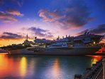 Stunning sunset over the USS Midway