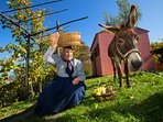 The traditional woman called 'Savrinka' with the donkey