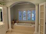 Master bath with jacuzzi tub and a huge double walk in shower.