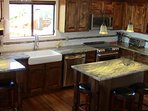 Kitchen with granite that looks like our stormy ocean!